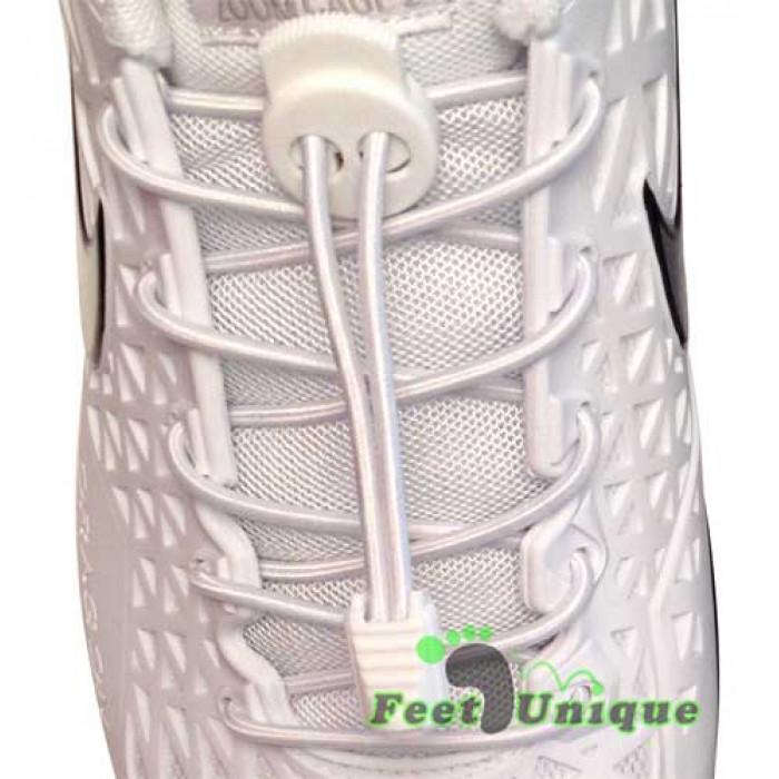 Elastiset lukolliset valkoiset kengännauhat