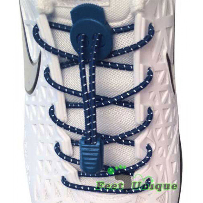 Raidalliset lukolliset laivastonsiniset kengännauhat