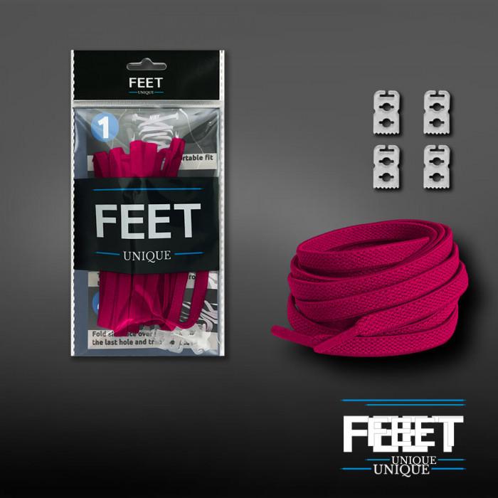Joustavat litteät tumman pinkit kengännauhat (sitomattomat)