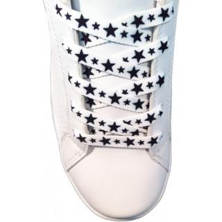 Kengännauhat - 10 mm valkoiset mustilla tähdillä