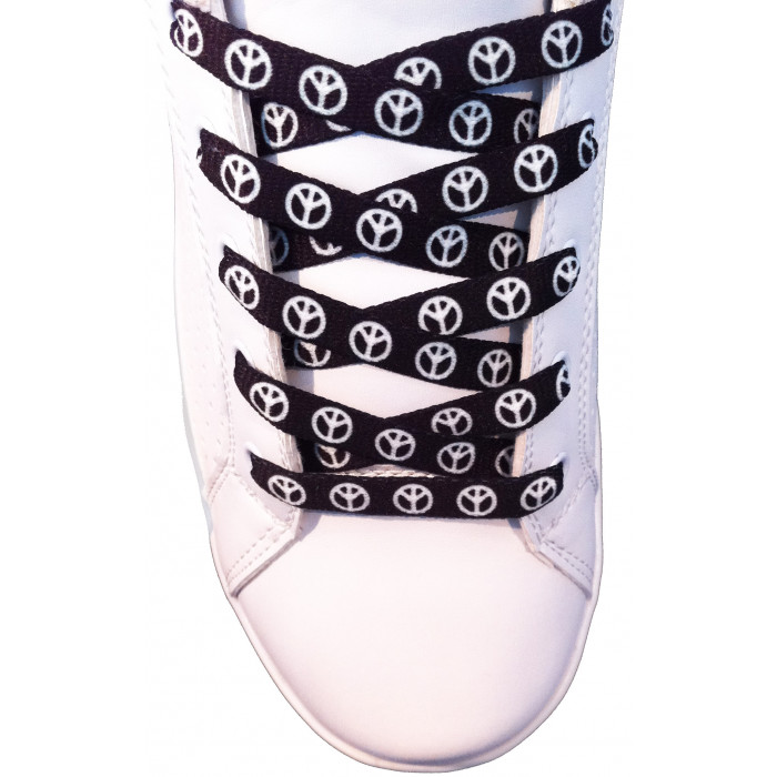 Peacekuvioiset mustat kengännauhat