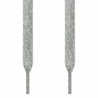 Metalliset hopeiset kengännauhat