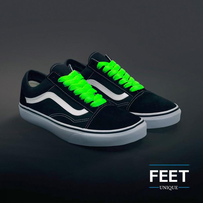 Ekstraleveät neonvihreät kengännauhat