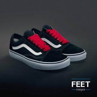 Ekstraleveät punaiset kengännauhat