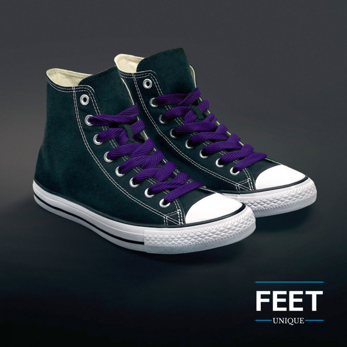 Ekstraleveät violetit kengännauhat