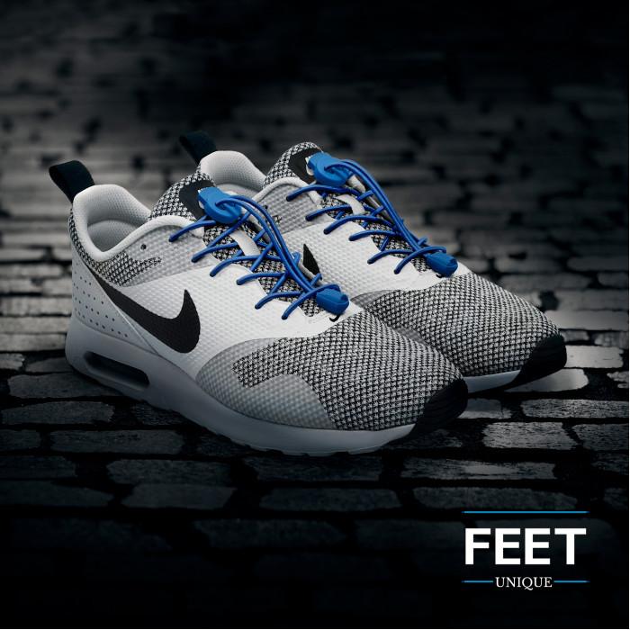 Elastiset lukolliset siniset kengännauhat