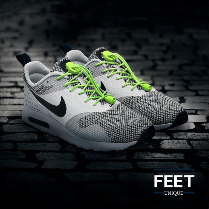 Elastiset lukolliset neonkeltaiset kengännauhat