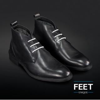 "Valkoiset ""No-Tie"" kengännauhat puvunkengille."
