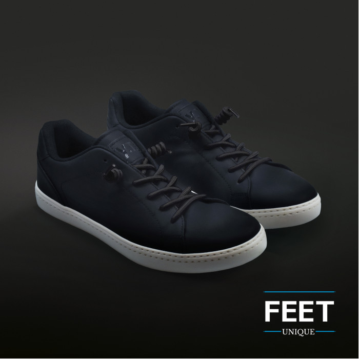 Mustat kiharaiset kengännauhat