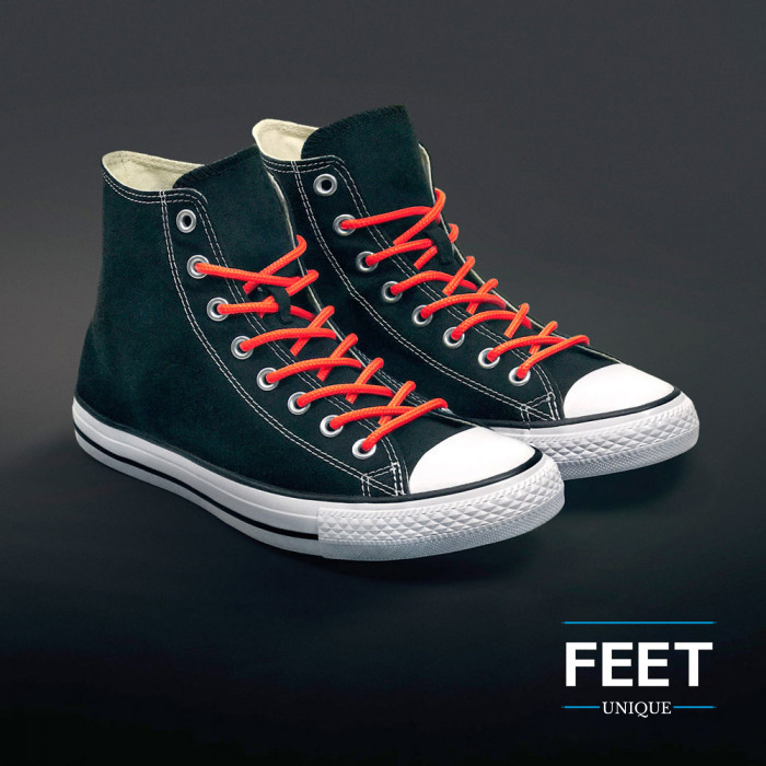 Pyöreät neonoranssit kengännauhat