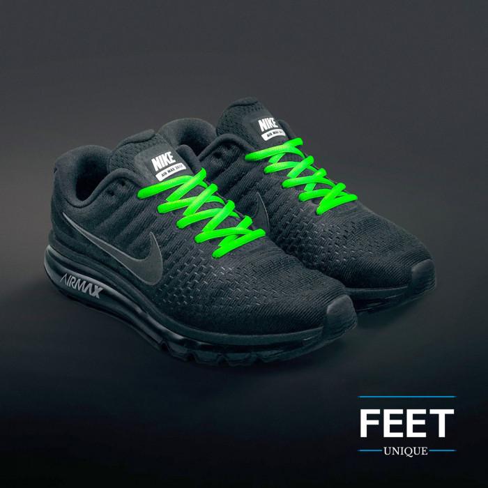 Soikeat neon vihreät kengännauhat