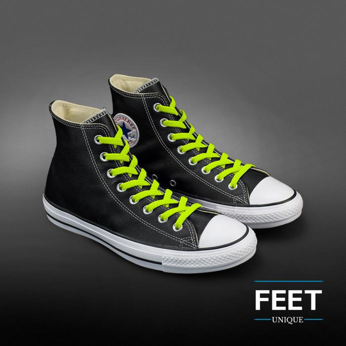Joustavat litteät neonkeltaiset kengännauhat (sitomattomat)