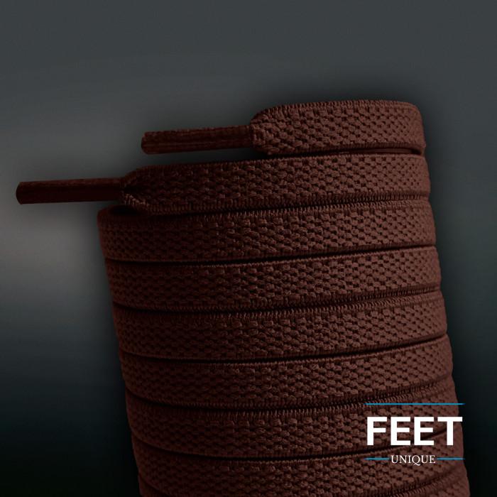 Joustavat litteät tummanruskeat kengännauhat (sitomattomat)