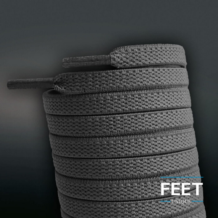 Litteät joustavat tumman harmaat kengännauhat (sitomattomat)