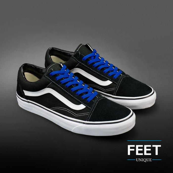 Joustavat litteät siniset kengännauhat (sitomattomat)