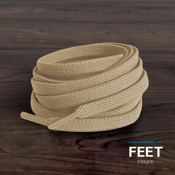 Joustavat litteät vaaleanruskeat kengännauhat (sitomattomat)