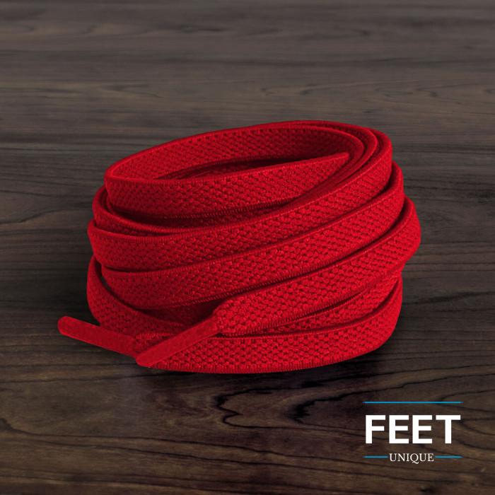Joustavat litteät punaiset kengännauhat (sitomattomat)