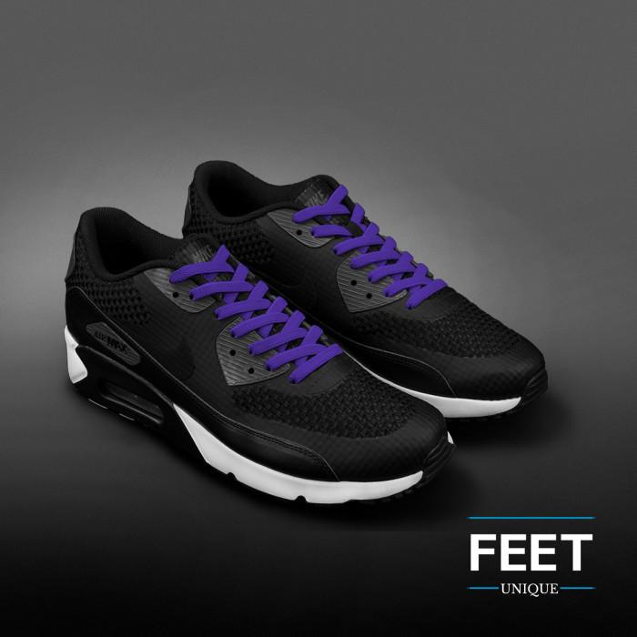 Joustavat litteät violetit kengännauhat (sitomattomat)
