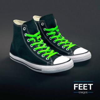 Litteät neonvihreät kengännauhat