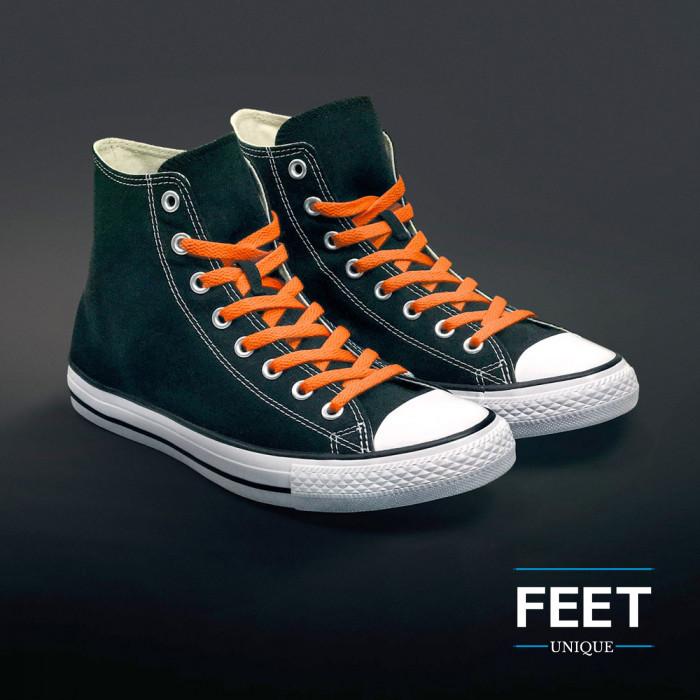 Litteät oranssit kengännauhat