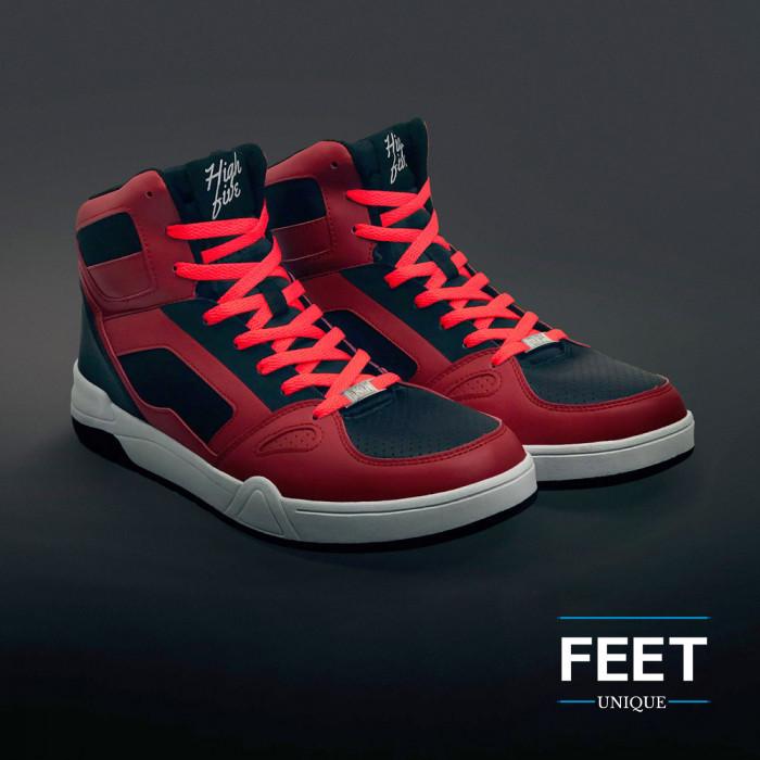 Litteät neonoranssit kengännauhat